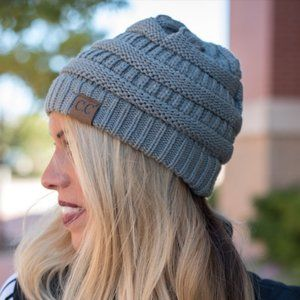 CC | Grey Solid Ribbed Beanie Hat | Adult size